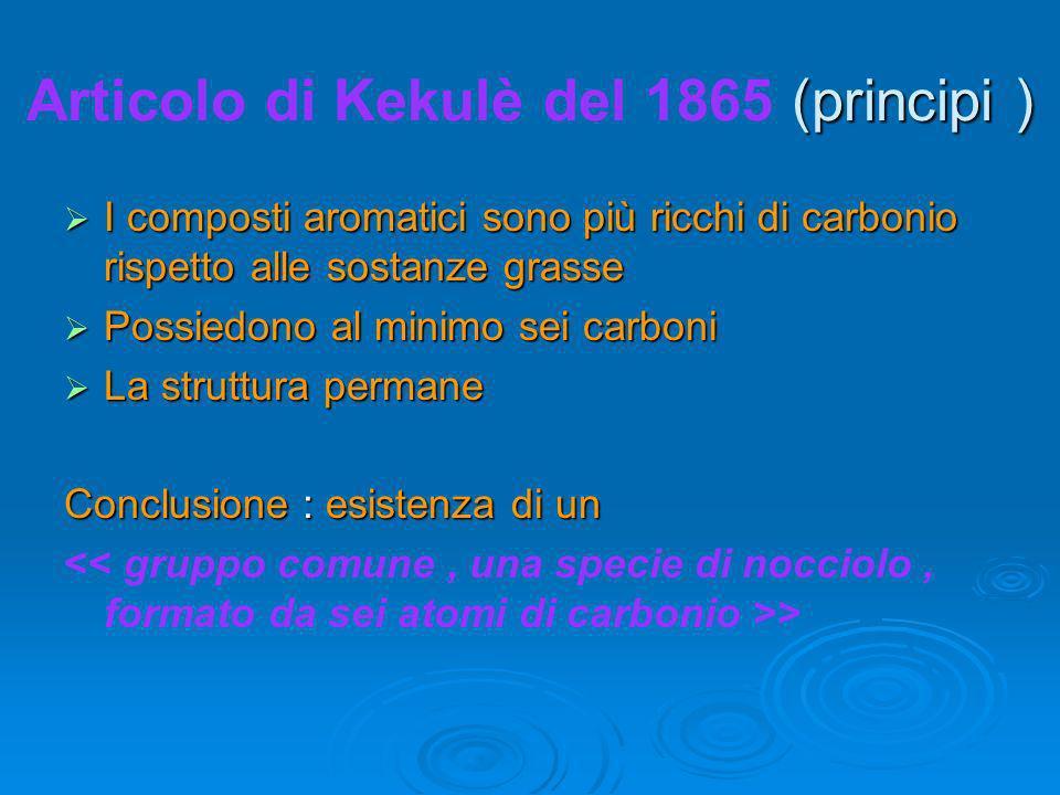 Articolo di Kekulè del 1865 (principi )