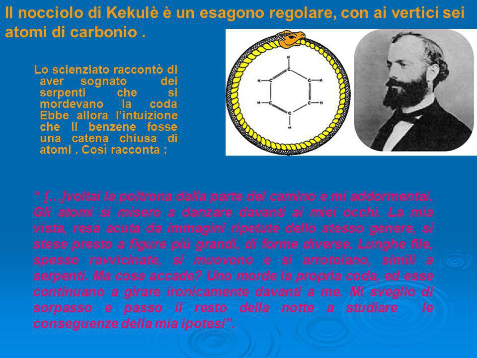 Il nocciolo di Kekulè è un esagono regolare, con ai vertici sei atomi di carbonio .