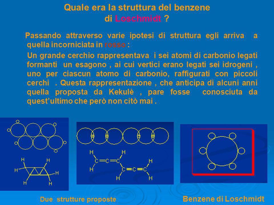 Quale era la struttura del benzene di Loschmidt