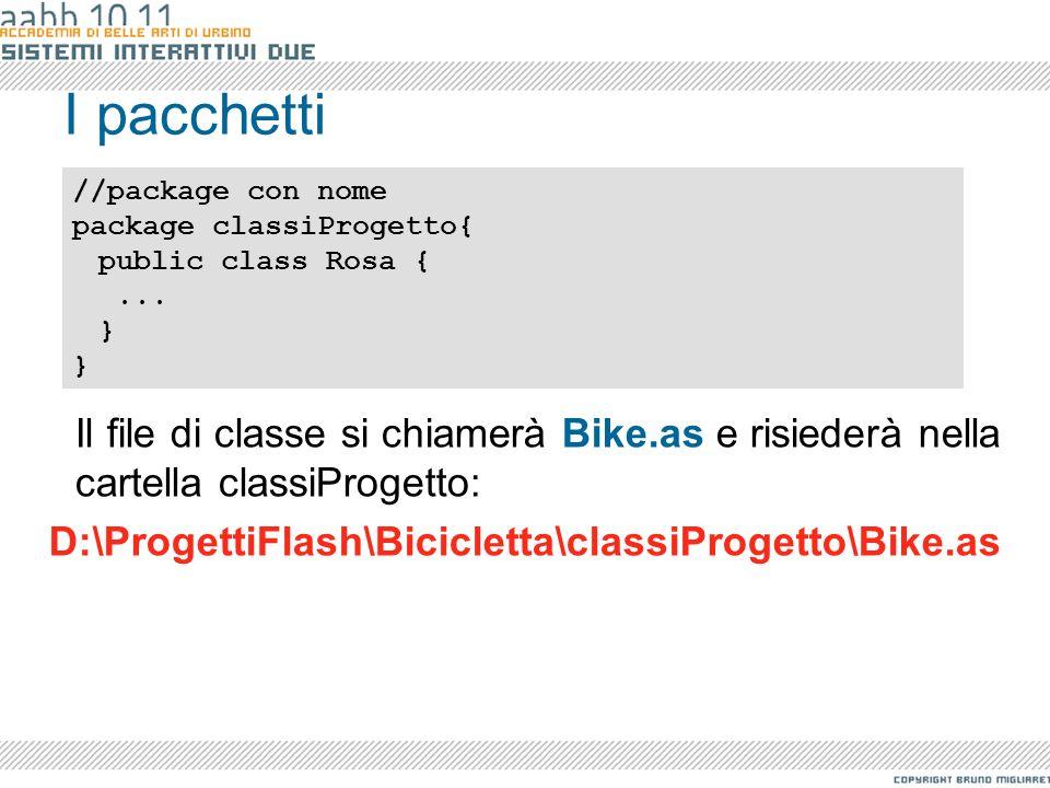 I pacchetti//package con nome. package classiProgetto{ public class Rosa { ... }