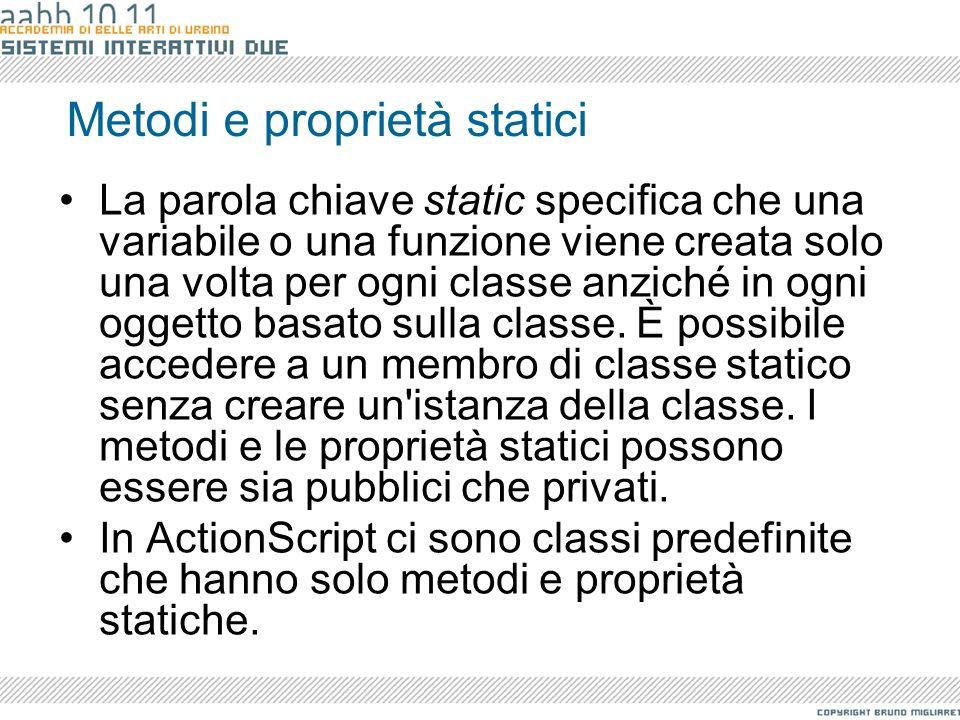 Metodi e proprietà statici