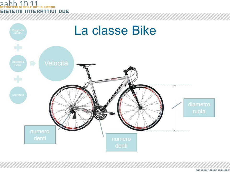 La classe Bike Velocità diametro ruota numero denti numero denti