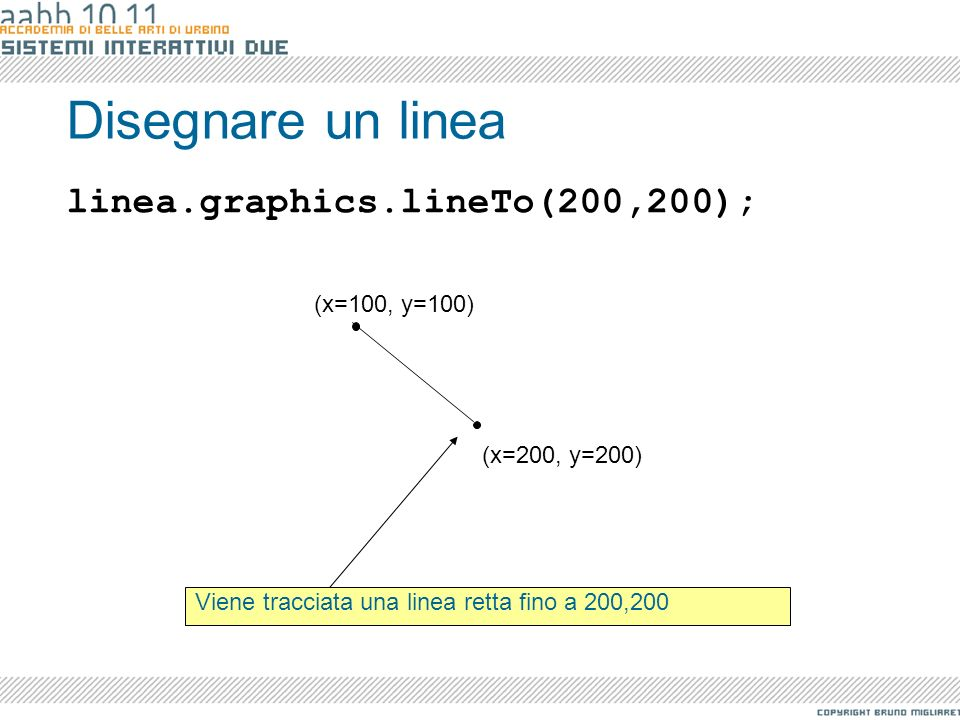 Disegnare un linea linea.graphics.lineTo(200,200); (x=100, y=100)