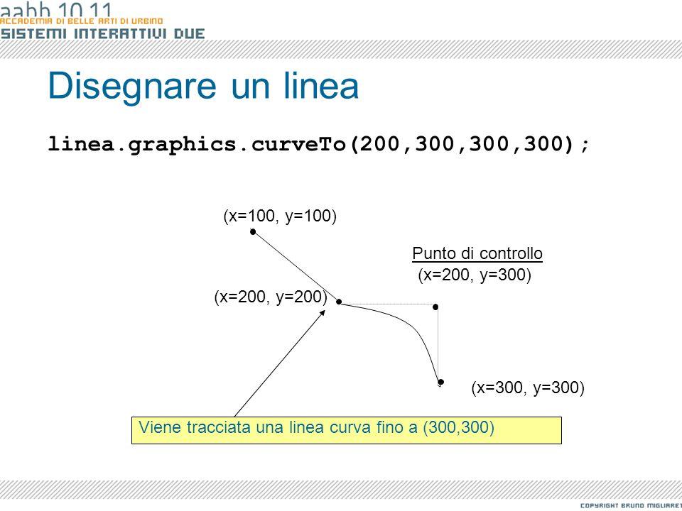 Disegnare un linea linea.graphics.curveTo(200,300,300,300);