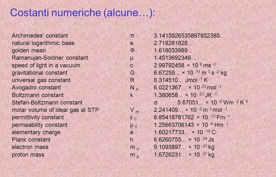 Costanti numeriche (alcune…):
