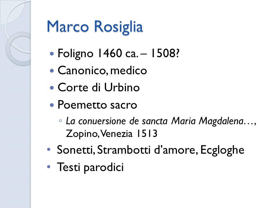 Marco Rosiglia Foligno 1460 ca. – 1508 Canonico, medico