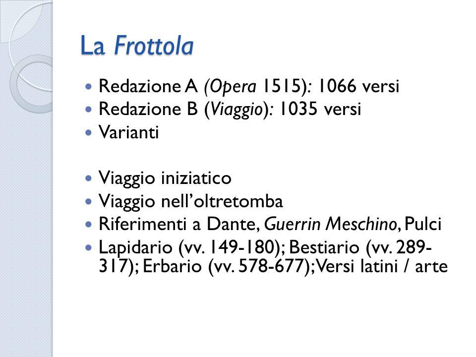 La Frottola Redazione A (Opera 1515): 1066 versi