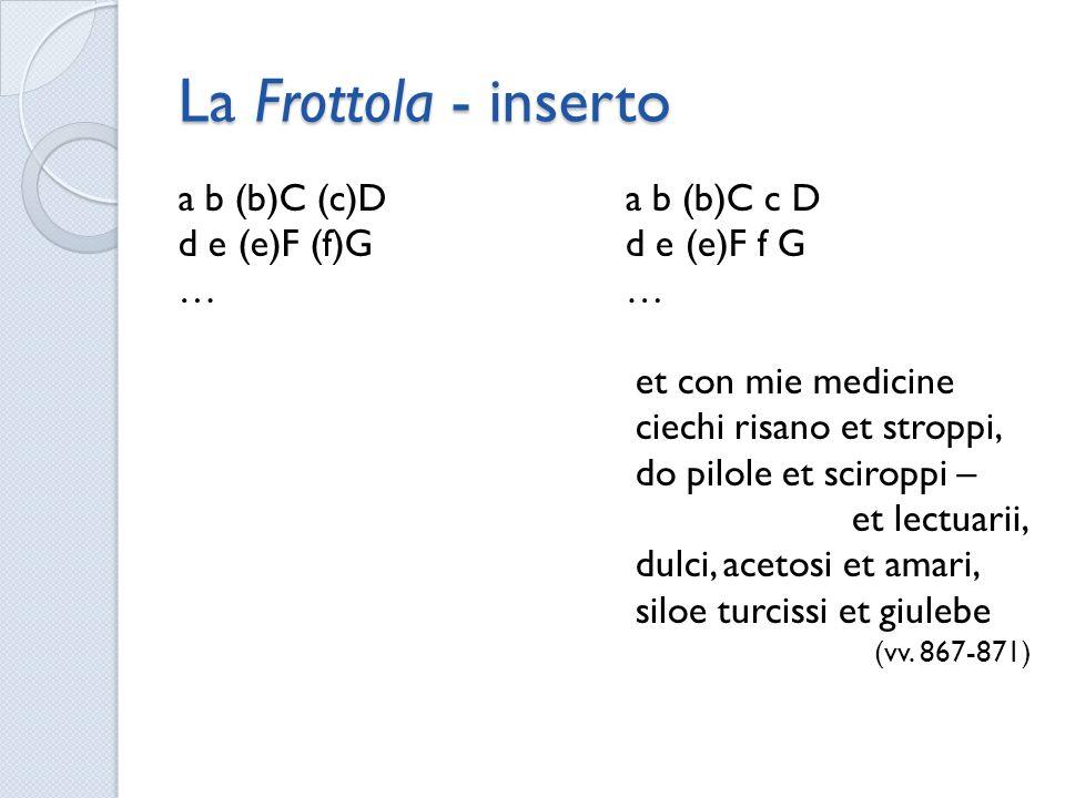 La Frottola - inserto a b (b)C (c)D d e (e)F (f)G … a b (b)C c D