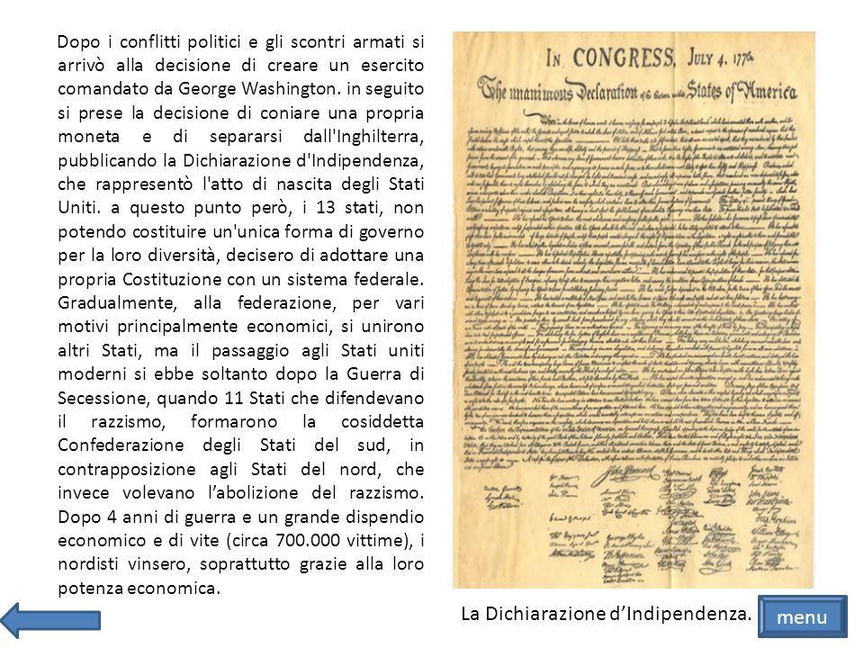 La Dichiarazione d'Indipendenza. menu