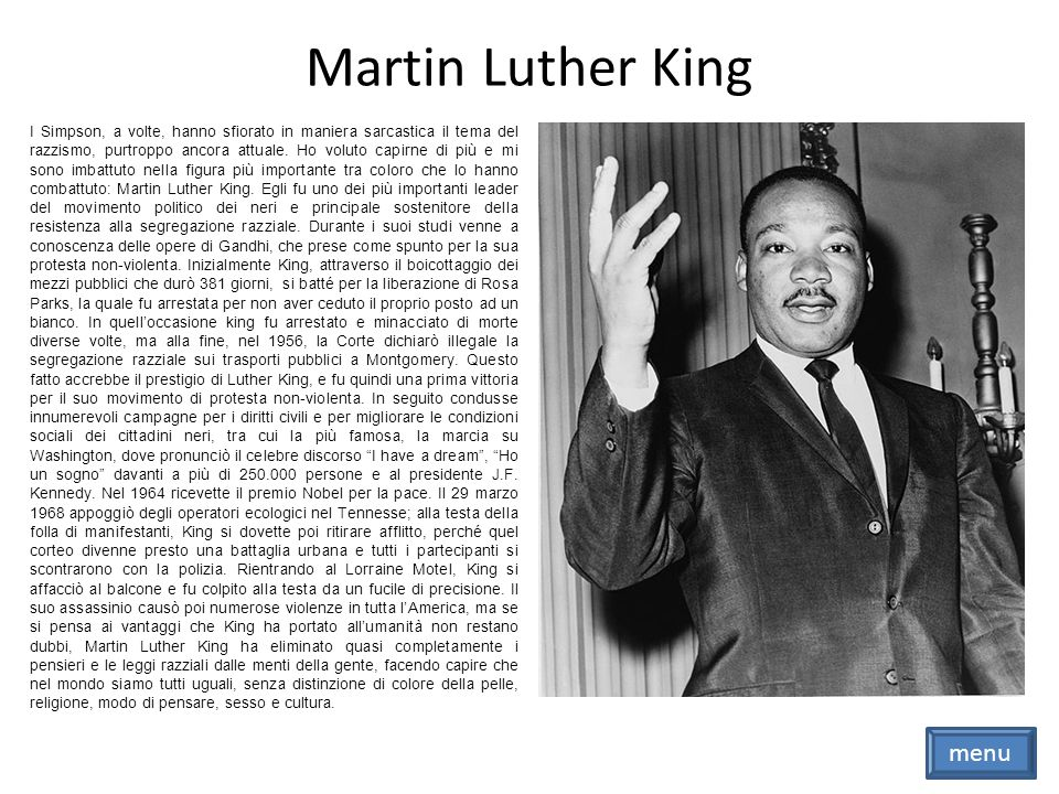 Martin Luther King menu