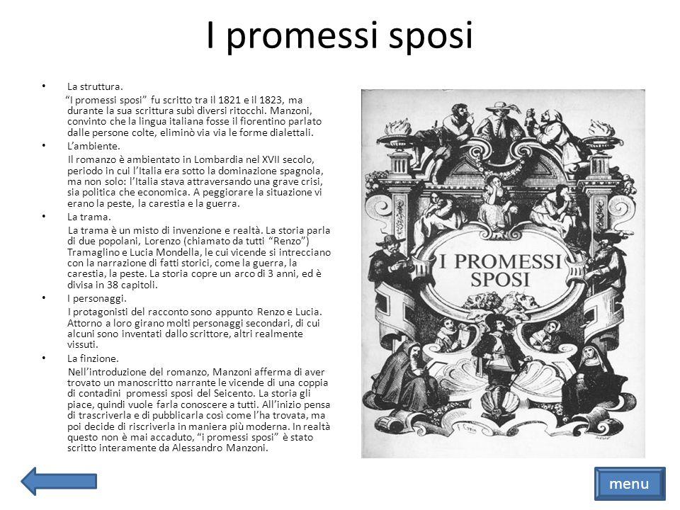 I promessi sposi menu La struttura.