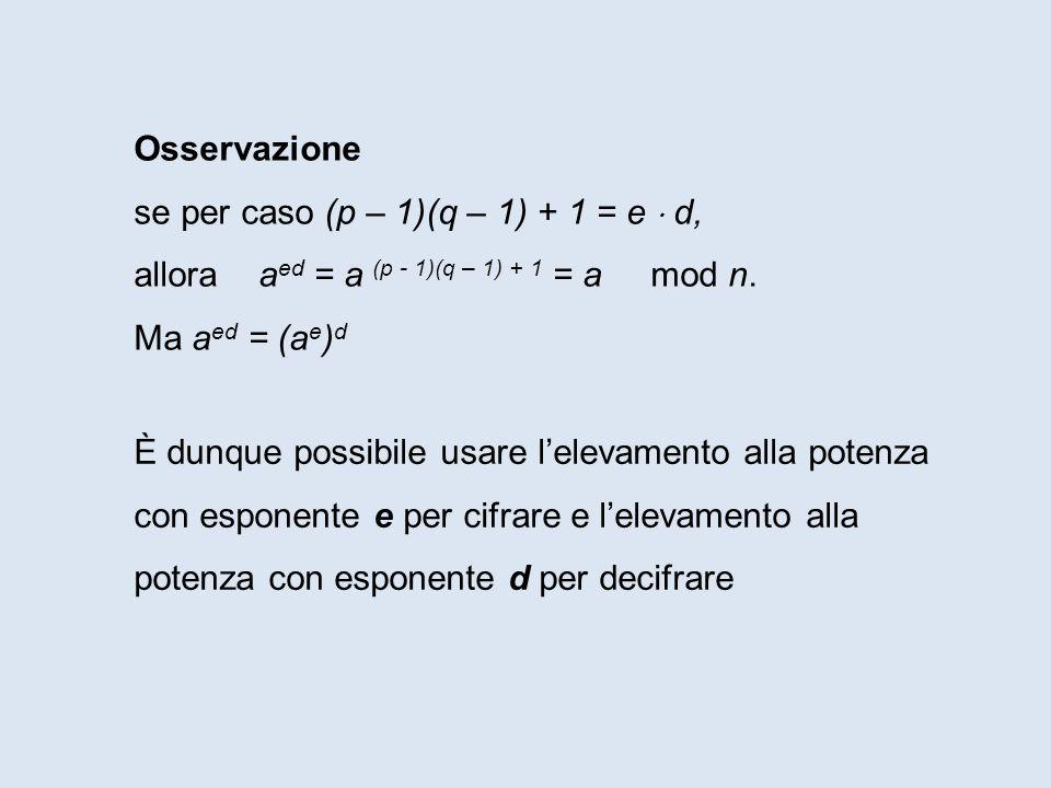 Osservazione se per caso (p – 1)(q – 1) + 1 = e  d, allora aed = a (p - 1)(q – 1) + 1 = a mod n.