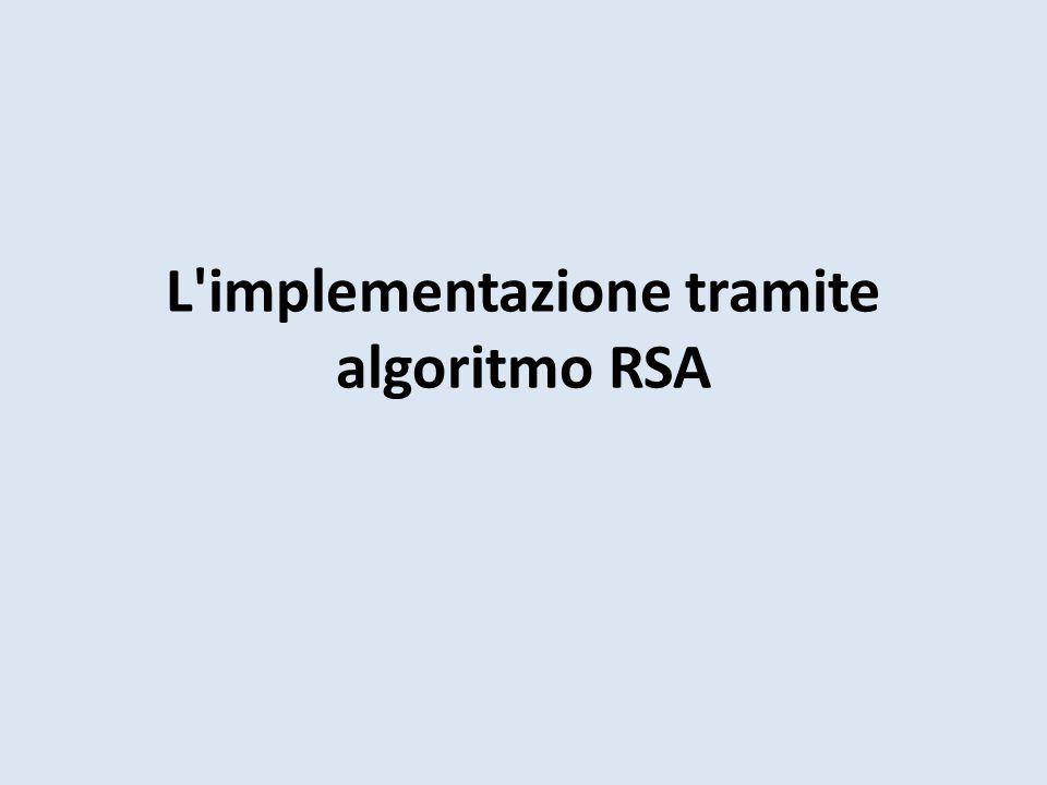 L implementazione tramite algoritmo RSA