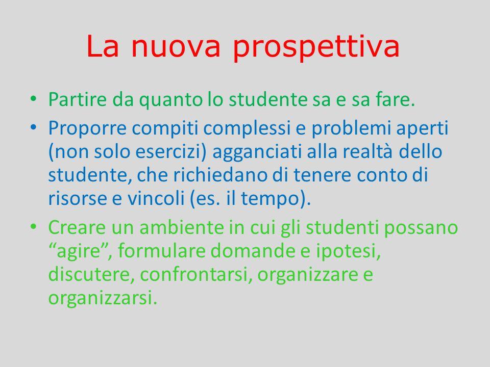 La nuova prospettiva Partire da quanto lo studente sa e sa fare.