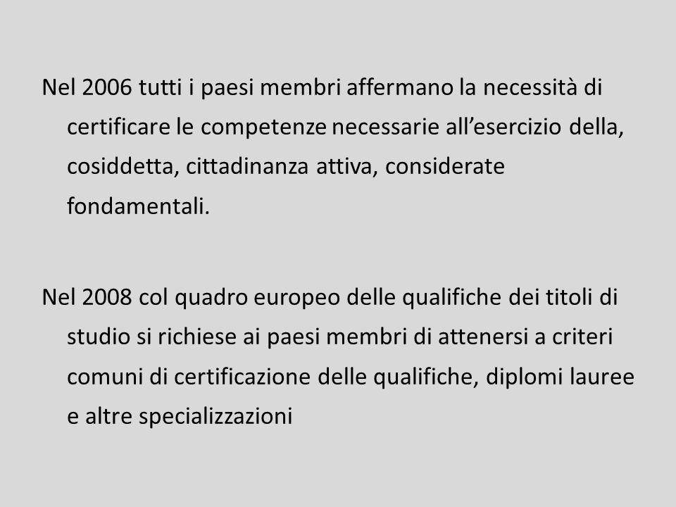 Nel 2006 tutti i paesi membri affermano la necessità di certificare le competenze necessarie all'esercizio della, cosiddetta, cittadinanza attiva, considerate fondamentali.