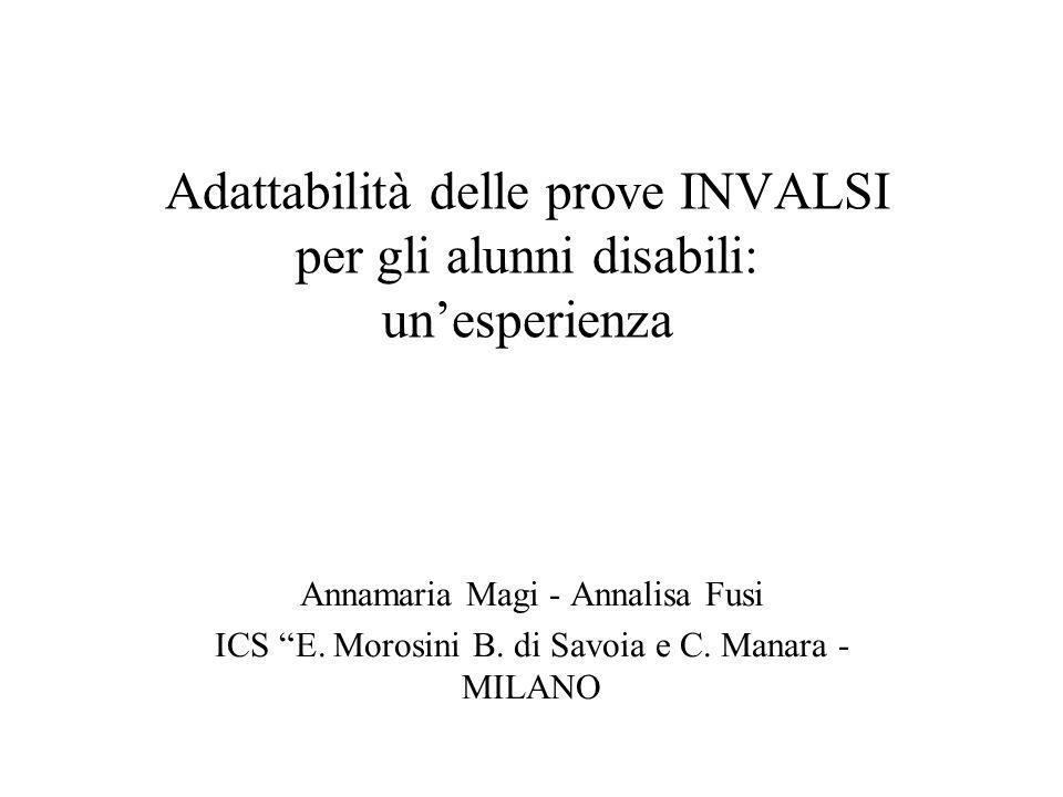 Adattabilità delle prove INVALSI per gli alunni disabili: un'esperienza