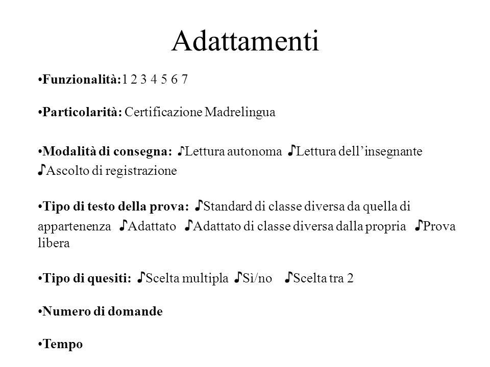 Adattamenti Funzionalità:1 2 3 4 5 6 7