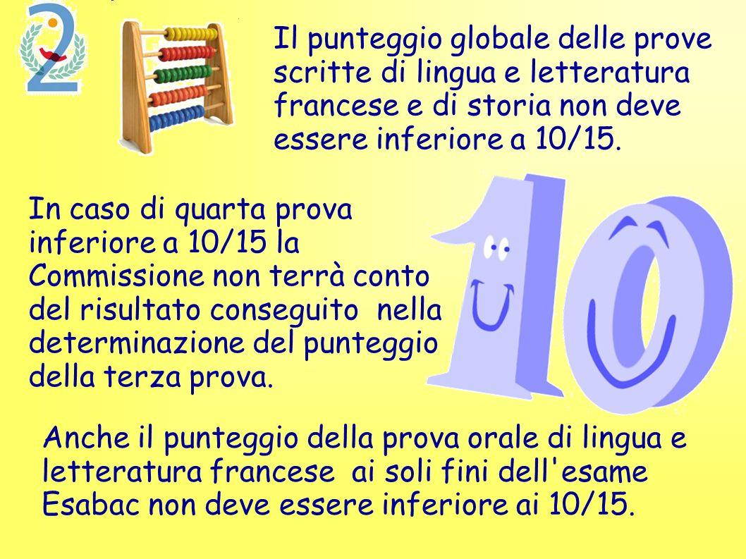 Il punteggio globale delle prove scritte di lingua e letteratura francese e di storia non deve essere inferiore a 10/15.