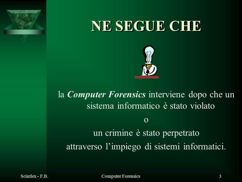 NE SEGUE CHE la Computer Forensics interviene dopo che un sistema informatico è stato violato. o. un crimine è stato perpetrato.