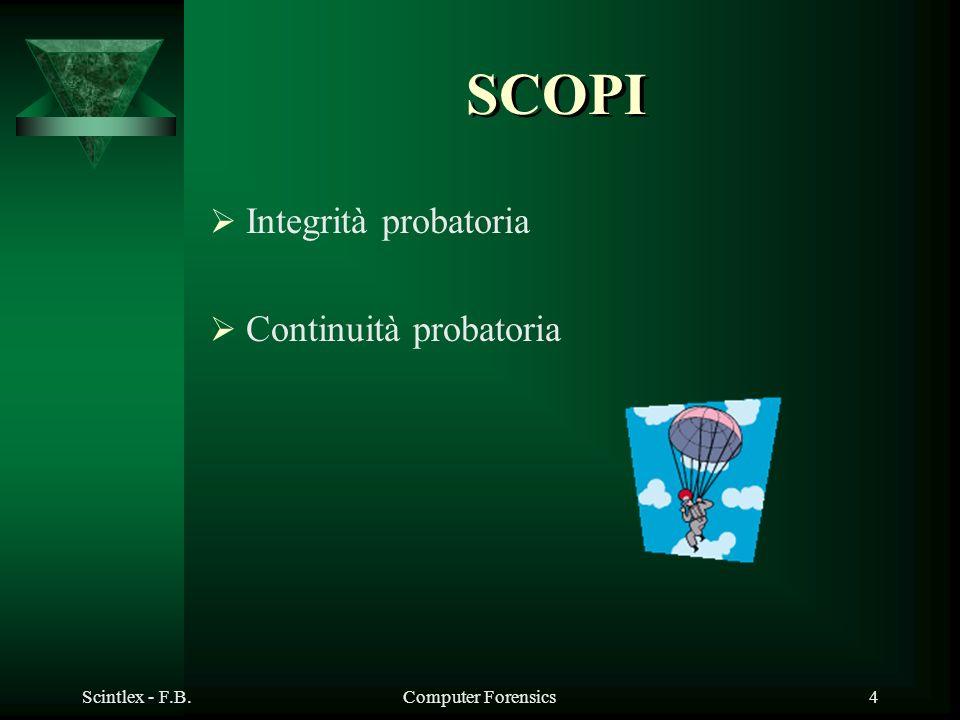 SCOPI Integrità probatoria Continuità probatoria Scintlex - F.B.