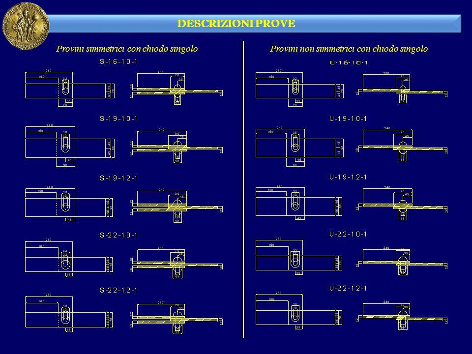 DESCRIZIONI PROVE Provini simmetrici con chiodo singolo