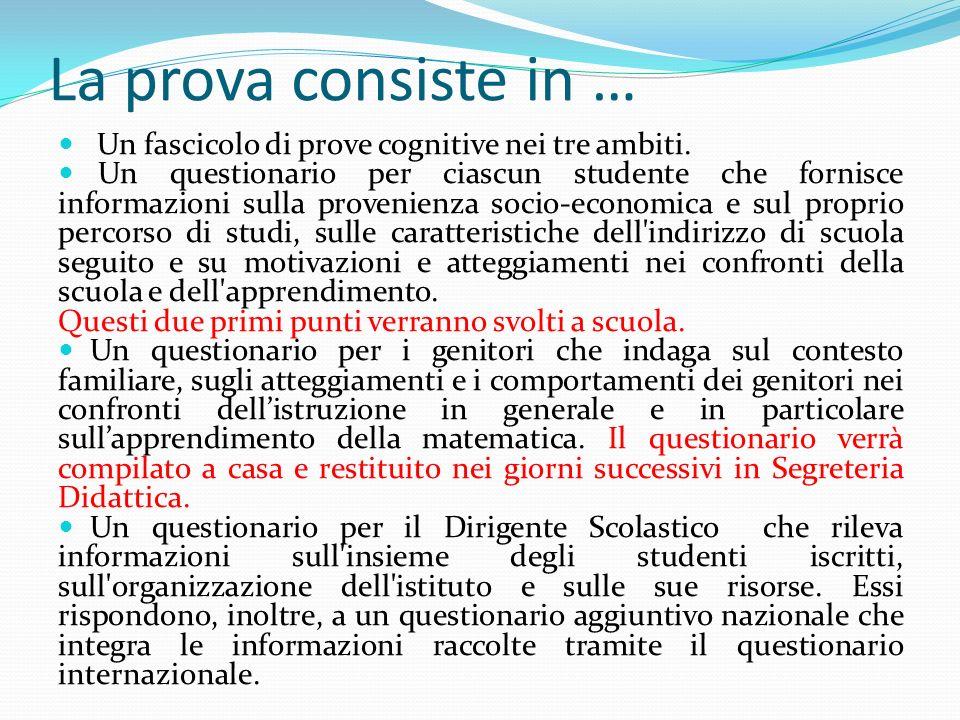 La prova consiste in … Un fascicolo di prove cognitive nei tre ambiti.