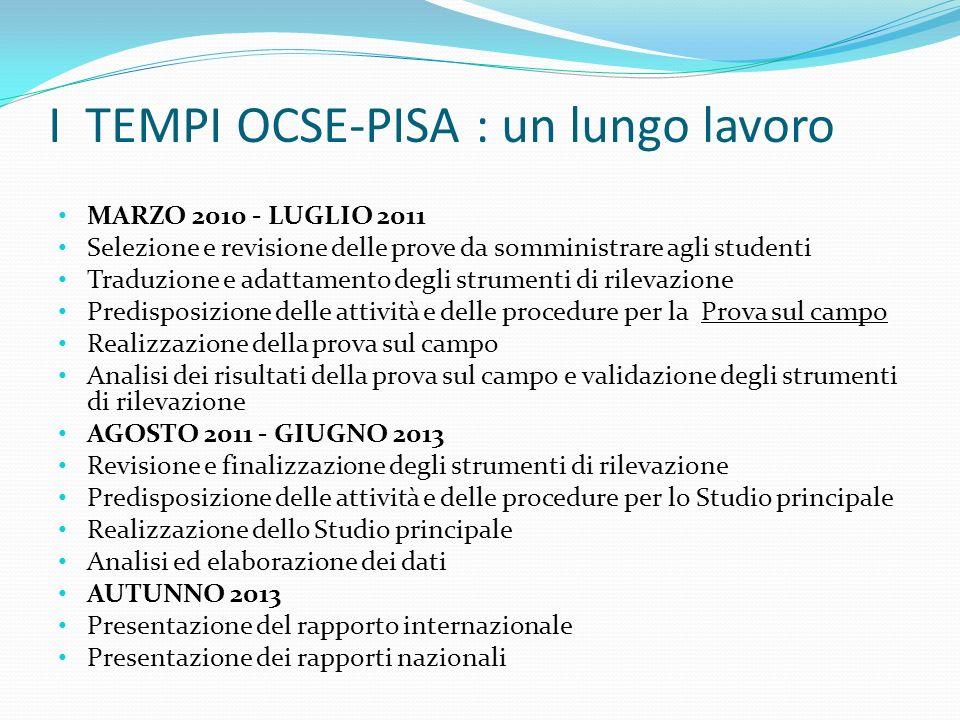 I TEMPI OCSE-PISA : un lungo lavoro