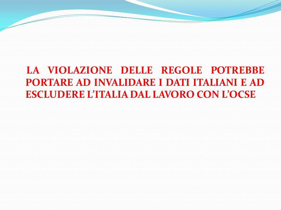 LA VIOLAZIONE DELLE REGOLE POTREBBE PORTARE AD INVALIDARE I DATI ITALIANI E AD ESCLUDERE L'ITALIA DAL LAVORO CON L'OCSE