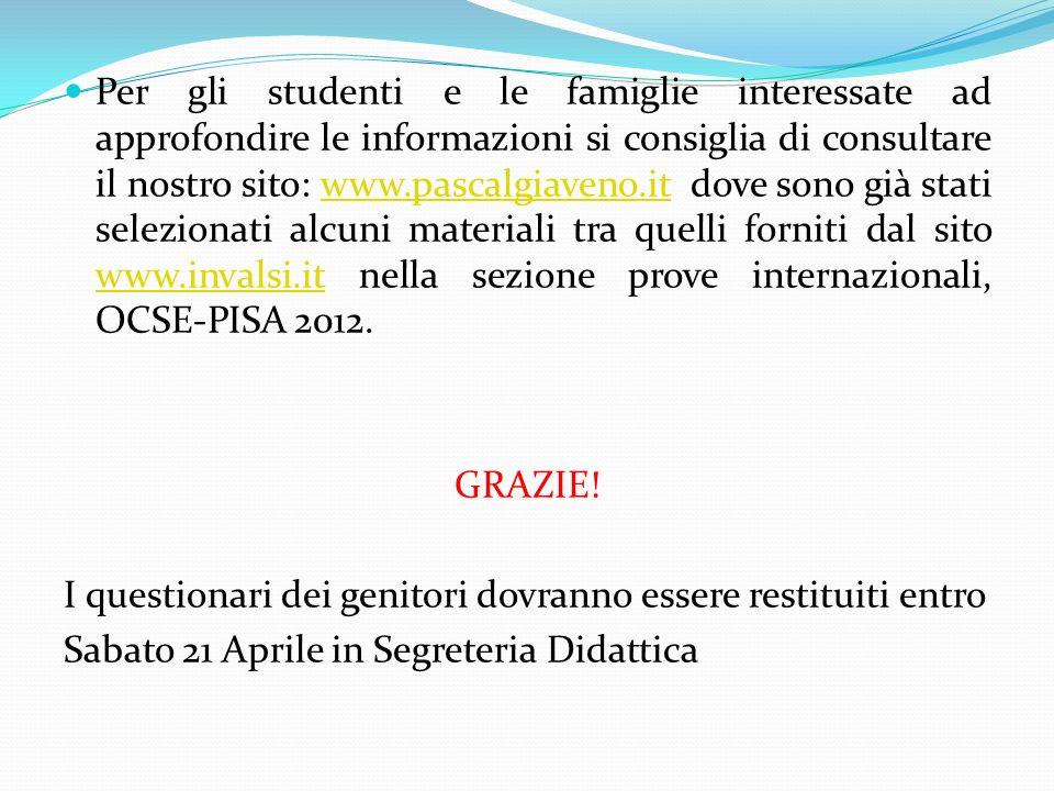 Per gli studenti e le famiglie interessate ad approfondire le informazioni si consiglia di consultare il nostro sito: www.pascalgiaveno.it dove sono già stati selezionati alcuni materiali tra quelli forniti dal sito www.invalsi.it nella sezione prove internazionali, OCSE-PISA 2012.
