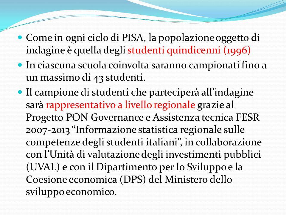 Come in ogni ciclo di PISA, la popolazione oggetto di indagine è quella degli studenti quindicenni (1996)