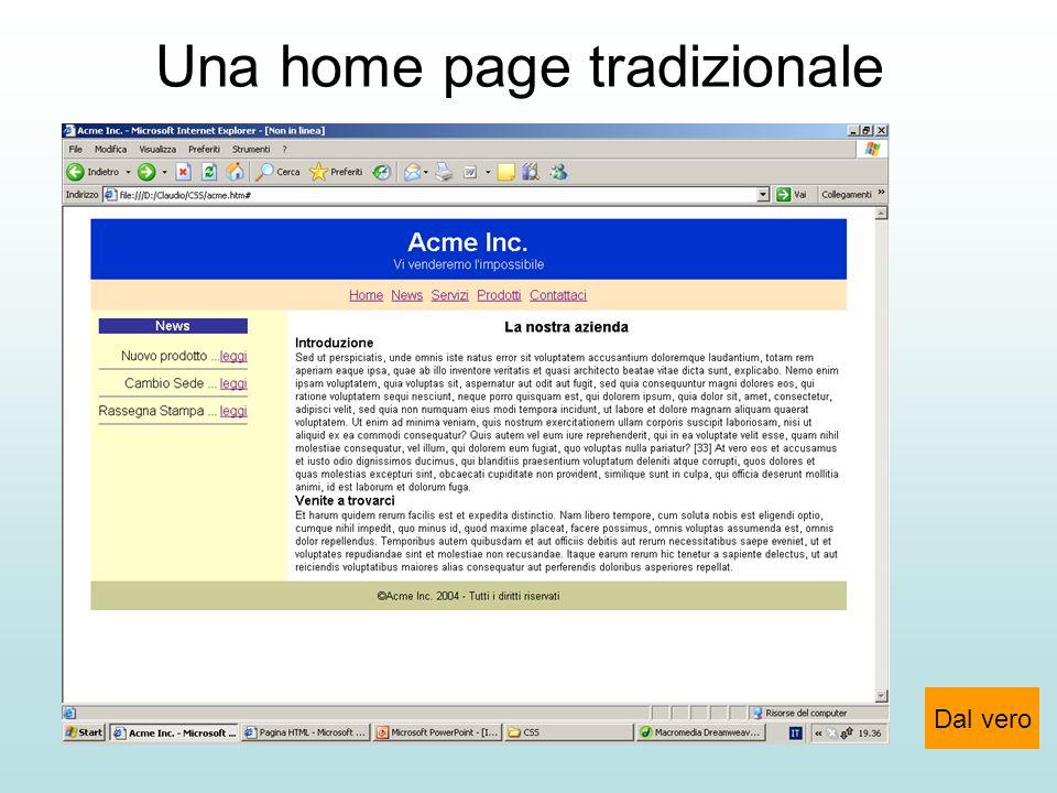 Una home page tradizionale