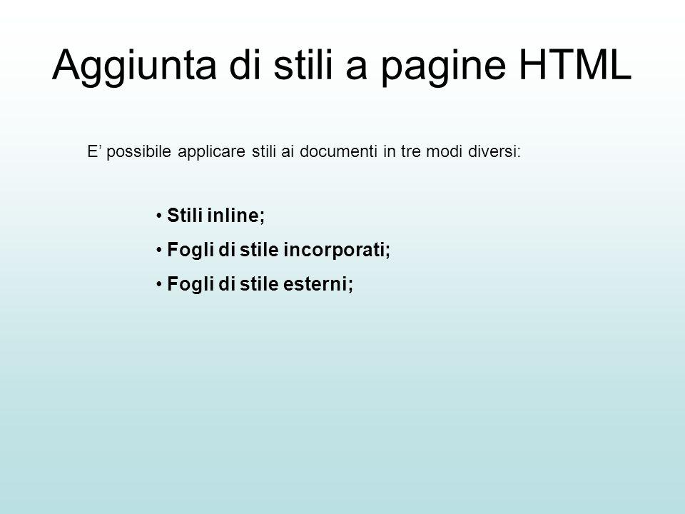 Aggiunta di stili a pagine HTML