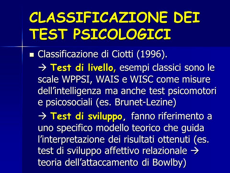 CLASSIFICAZIONE DEI TEST PSICOLOGICI
