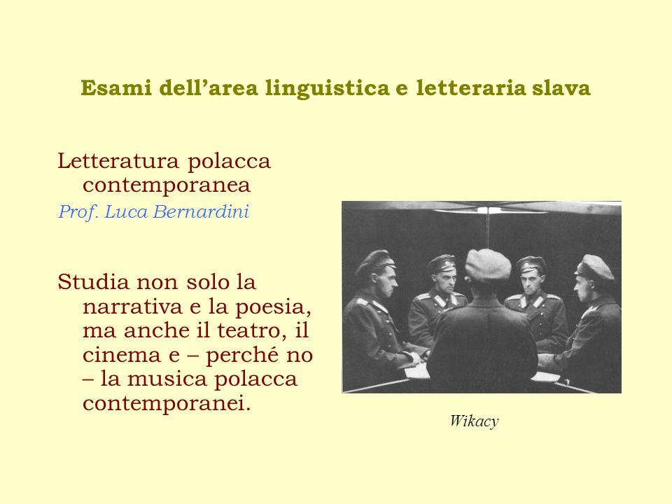 Esami dell'area linguistica e letteraria slava