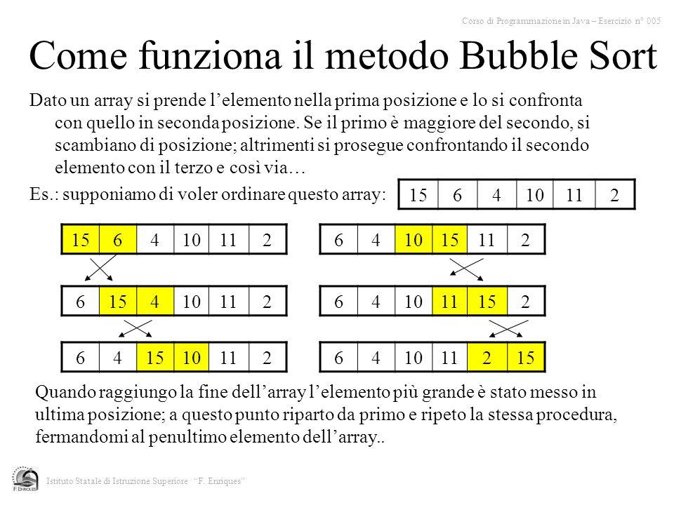 Come funziona il metodo Bubble Sort