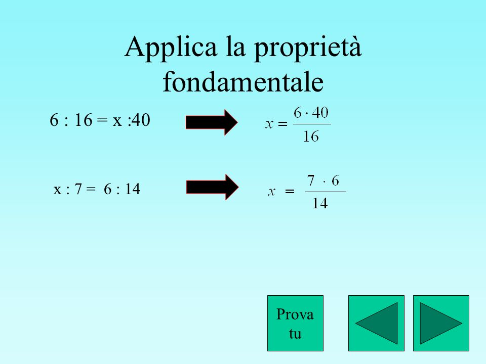 Applica la proprietà fondamentale
