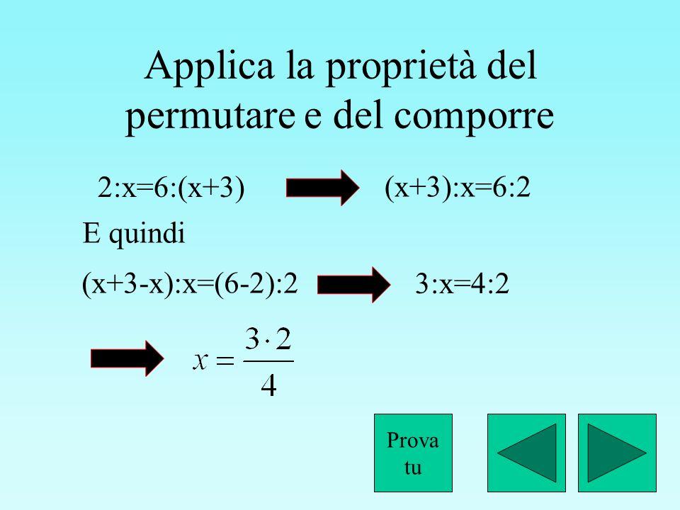 Applica la proprietà del permutare e del comporre