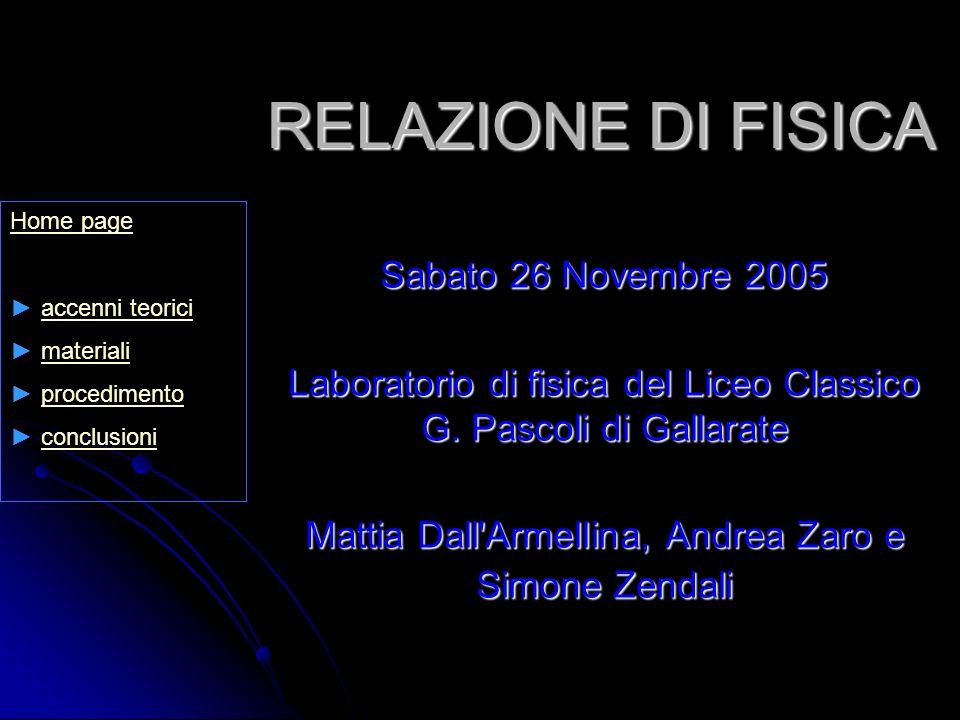 RELAZIONE DI FISICA Sabato 26 Novembre 2005