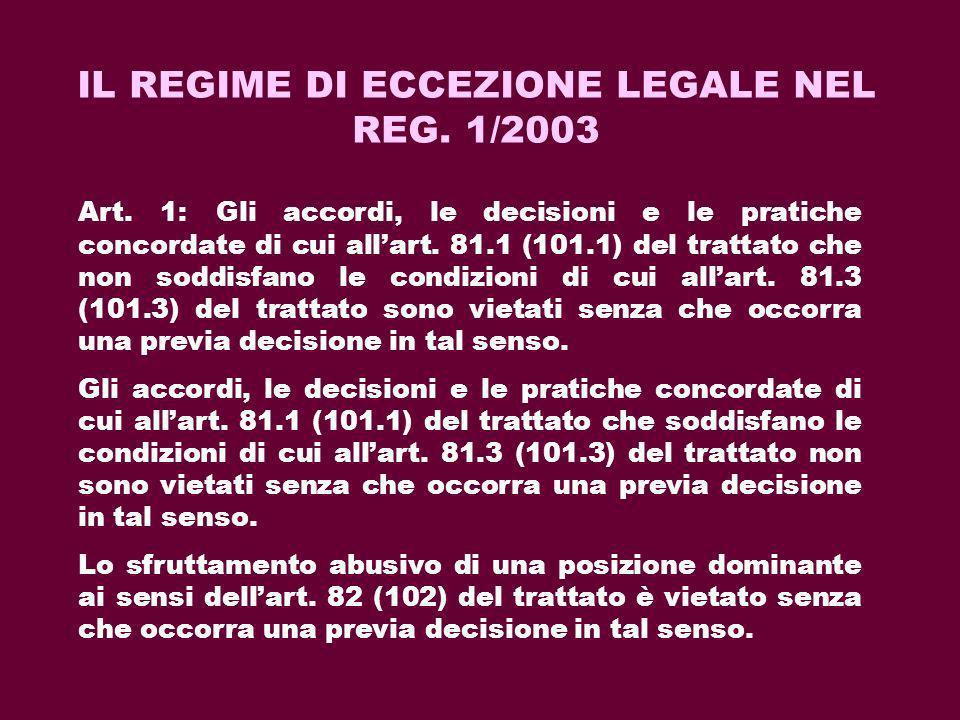 IL REGIME DI ECCEZIONE LEGALE NEL REG. 1/2003