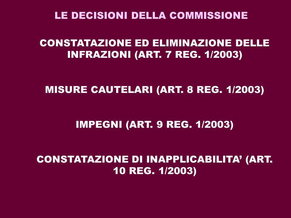 LE DECISIONI DELLA COMMISSIONE