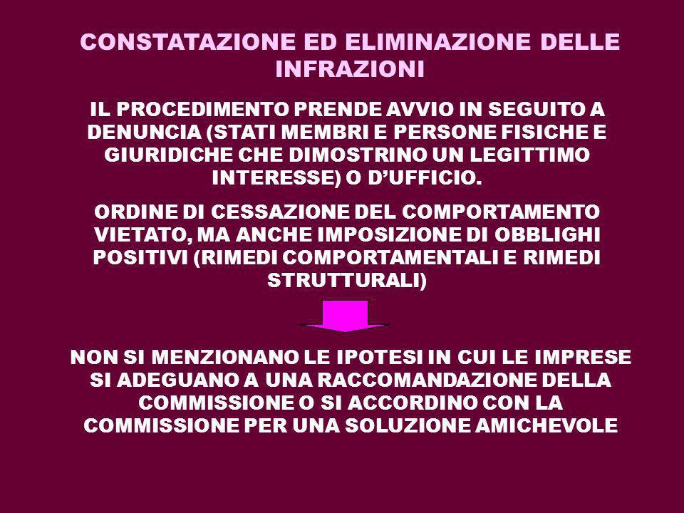 CONSTATAZIONE ED ELIMINAZIONE DELLE INFRAZIONI