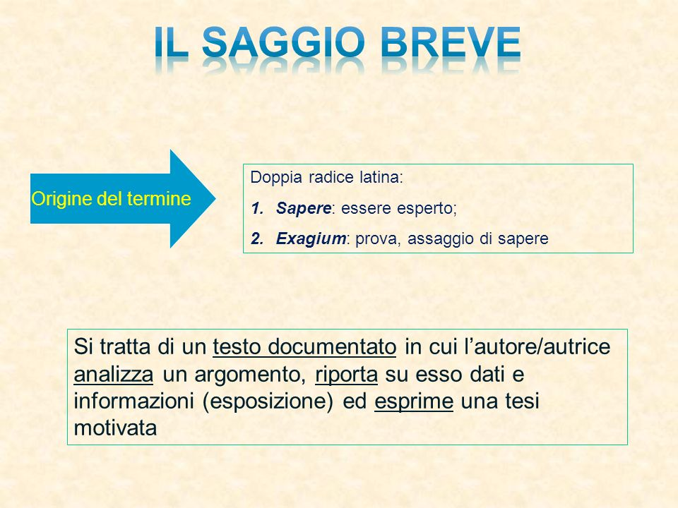 Il saggio breve Origine del termine. Doppia radice latina: Sapere: essere esperto; Exagium: prova, assaggio di sapere.