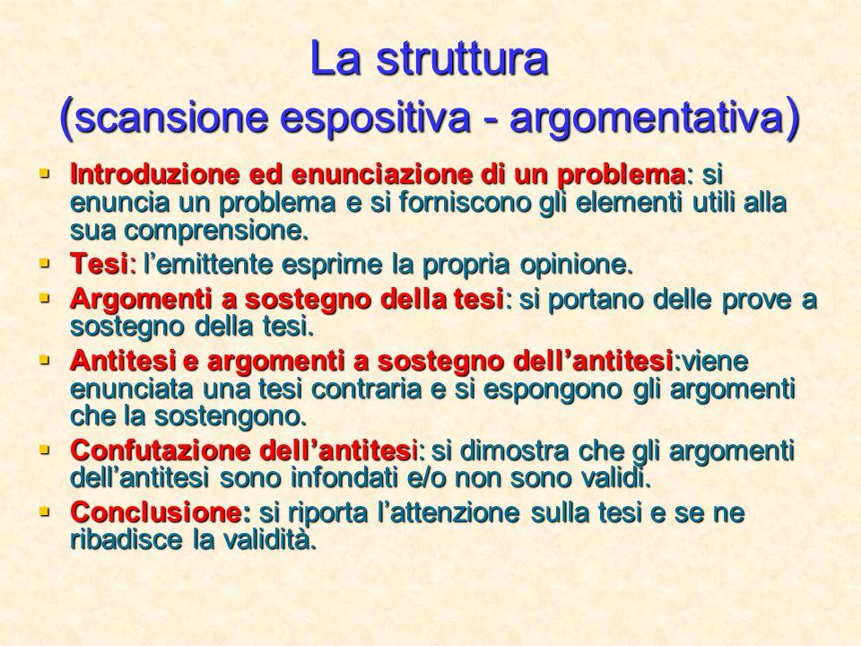 La struttura (scansione espositiva - argomentativa)