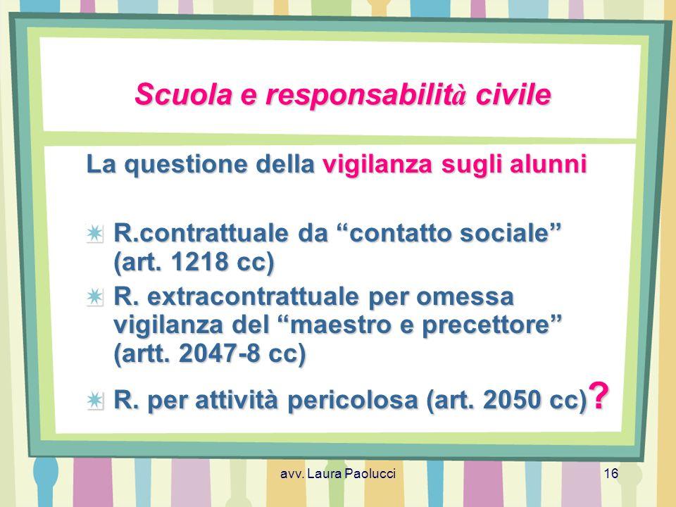 Scuola e responsabilità civile