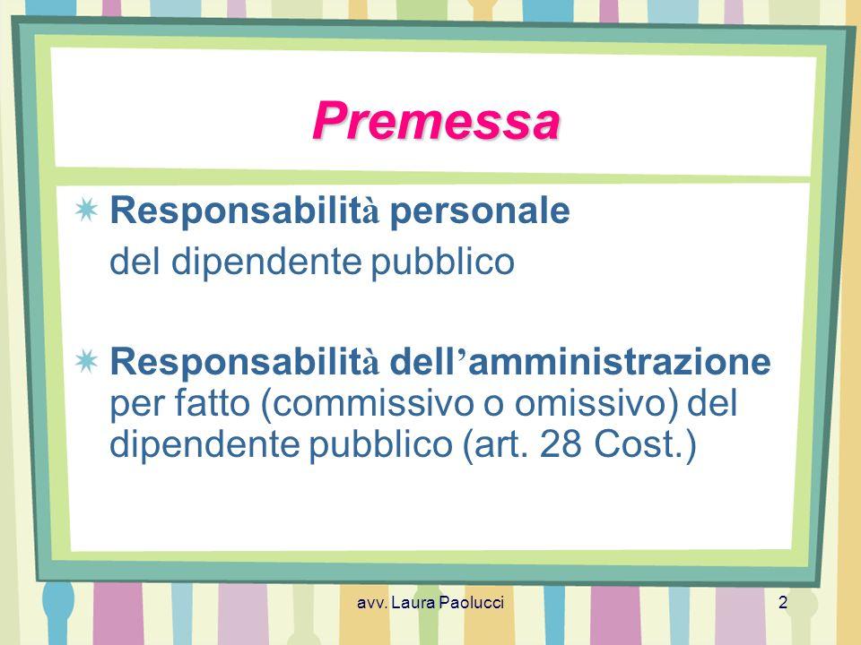 Premessa Responsabilità personale del dipendente pubblico