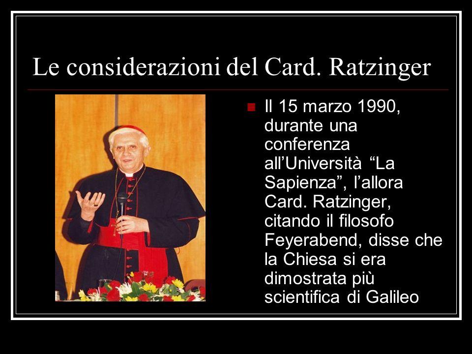 Le considerazioni del Card. Ratzinger