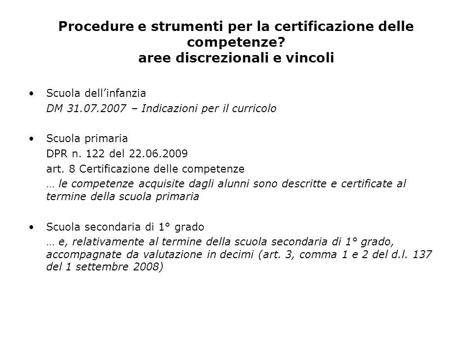 Procedure e strumenti per la certificazione delle competenze