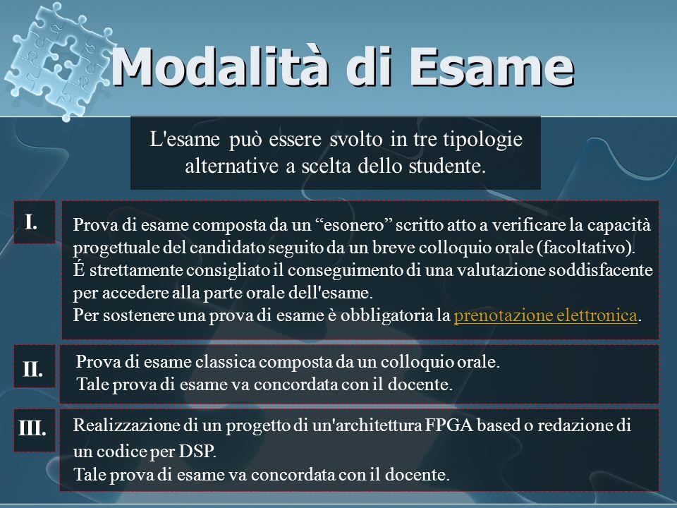 Modalità di Esame L esame può essere svolto in tre tipologie alternative a scelta dello studente.
