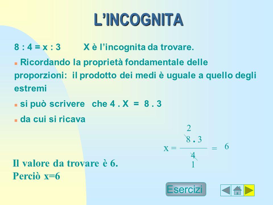 L'INCOGNITA x = Il valore da trovare è 6. Perciò x=6 Esercizi