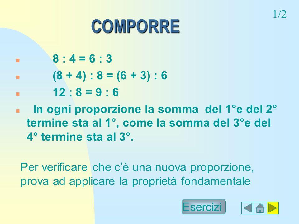COMPORRE 1/2 8 : 4 = 6 : 3 (8 + 4) : 8 = (6 + 3) : 6 12 : 8 = 9 : 6